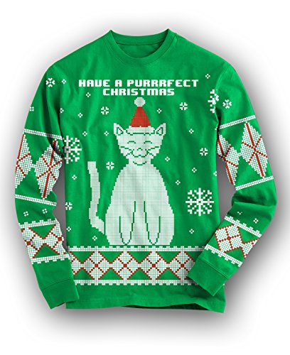 Cat Purrfect Christmas Ugly Sweater Full Print Holiday LONG SLEEVE