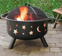 Black Stars And Moons Fire Pit with Cover And Grate - Best ...