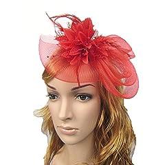 HSRT Women Brides Wedding Party Gauze Red Headwear Headband