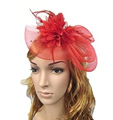HSRT Women Brides Wedding Party Gauze Red Headwear Headband