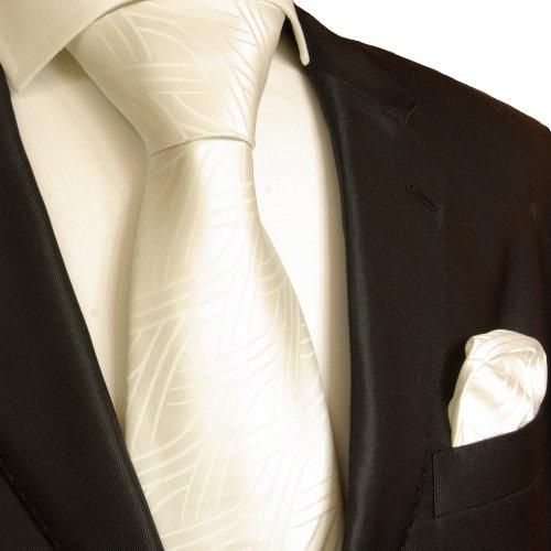 Wei/ßes Krawatten Set 2tlg paisley Seidenkrawatte Einstecktuch Paul Malone
