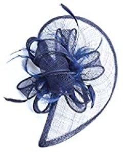 AM CLOTHES Womens Formal Party Cocktail Flower Feather Headband Fascinator (Navy Blue,one size)