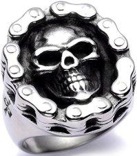 Men's Stainless Steel Big Skull Ring Bike Chain Wrapped ...