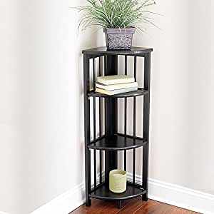 Amazoncom 3 Tier Folding Corner Bookcase Black