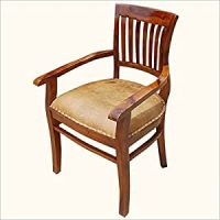 Amazon.com - Solid Wood Arm Chair Leather Cushion Dining ...
