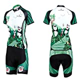 QinYing Panda Printing Short Sleeve Bicycle Cycling Jersey Set for Women Tag XXL=US L