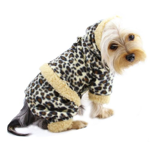 Leopard Print Hoodie Fleece for Dogs
