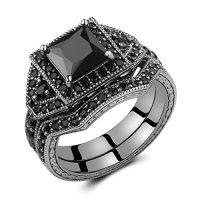 Caperci 2.0ct Black Princess Cut CZ Diamond Wedding ...