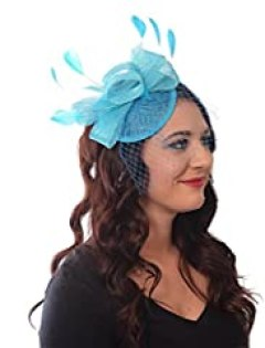 French Kiss Fascinator Sinamay Tea Party Derby Hat Headband with Bow Feathers Net and Veil (Turquoise)