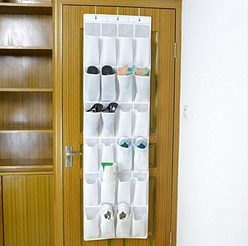 Bekith Hängeorganizer Aufbewahrungstasche Ordnungssystem Schuhaufbewahrung Für Tür mit 24 Tasche,weiß