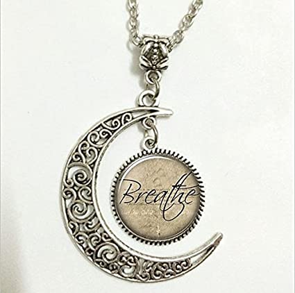 Inspirational Word Pendant,Breathe Necklace, Motivational Quote Moon Jewelry,moon Necklace Glass Art Picture