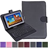 "HDE Diamond Stitch Hard Leather Folding Folio Case Cover with Micro USB Keyboard for 7"" Tablet (Black)"