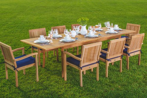 New 9 Pc Luxurious Grade-A Teak Dining Set -94″ Rectangle