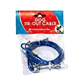 Dog Tie Out Cable/ Home Essential Dog Cable /7' Feet Puppy Dog Tie Out Cable /Heavy Duty Tie Out (Blue)