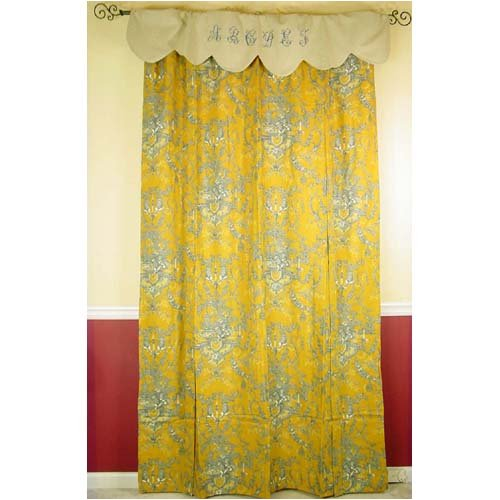 Cheap Toile Shower Curtain French Mustard Yellow Gray Toile