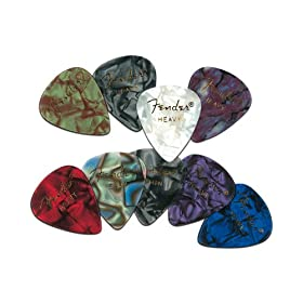 fender premium celluloid guitar pick pack abalone medium