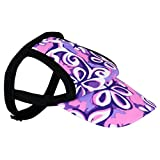 PlayaPup Sun Protective Dog Visor, Floral Swirl Purple, Large