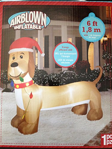 Airblown Inflatable Dog with Christmas Lights 6 Ft