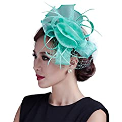 Women wedding Light Green fancy fascinator feather handmade hair accessories with netting