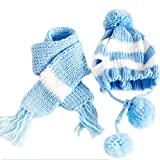 Silvercell Puppy Pet Dog Scarf Pom-pom Cap Collar Clothes Costume Knitted Hat Blue XXS
