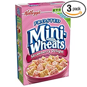 Kellogg's Frosted Mini-Wheats Strawberry Delight, 16.3-Ounce Boxes (Pack of 3)