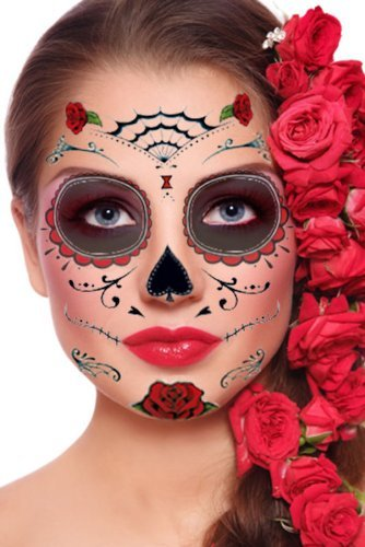 Red Roses Day of the Dead Sugar Skull Temporary Face Tattoo Kit