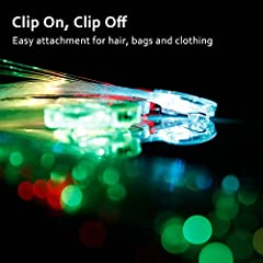 Etekcity LED Color Changing Fiber Optic Hair Barrettes Party Favors, 15 PCS