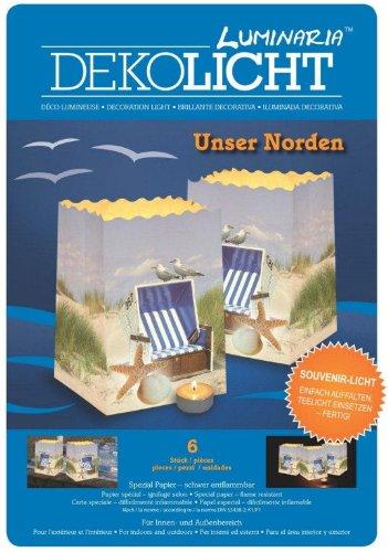 Unser Norden - Serie Maritim - 6 kleine Lichttüten bedruckt mit Strand und Strandkorb - original Luminaria
