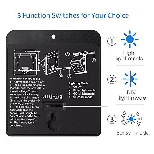 Lamparas Solares Mpow 8 LED Foco Solar Waterproof con Sensor de MovimientoLuz Solar Impermeable al Aire Libre de Pared con 3 Modos de Luces