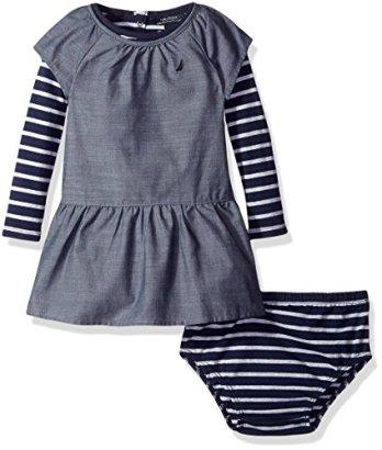 Nautica-Baby-Girls-Chambray-Dress-With-Stripe-Top