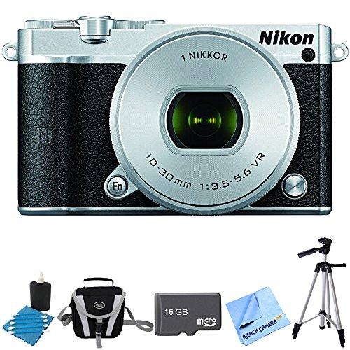 Nikon 1 J5 Digital Camera w/ NIKKOR 10-30mm f/3.5-5.6 PD Zoom Lens Silver Bundle includes 1 J5 digital camera, 10-30mm zoom lens, 16GB memory card, lens cleaning king, gadget bag, 57-inch tripod and micro fiber cloth