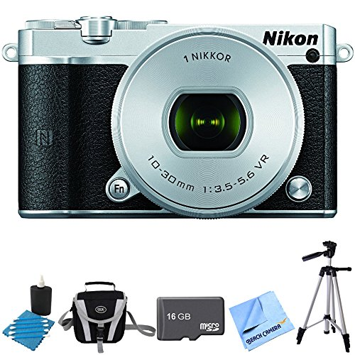 Nikon 1 J5 Digital Camera w/ NIKKOR 10-30mm f/3.5-5.6 PD Zoom Lens Silver Bundle includes 1 J5 digital camera, 10-30mm zoom lens, 16GB memory card, lens cleaning king, gadget bag, 57-inch tripod and micro fiber cloth