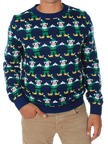 Men's Repeated Elves Ugly Christmas Sweater Size L