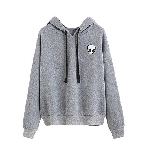 YuanYan Damen Alien Druck Casual Cropped Pullover Crew Neck Sweatshirt
