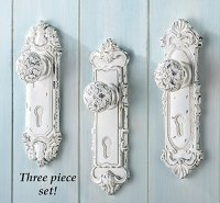Set of 3 Shabby Chic French Country Door Knob Hand Painted ...