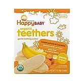 Happy Baby Organic Teethers Gentle Teething Wafers, Sweet Potato & Banana, 12 Count, (Pack of 6)