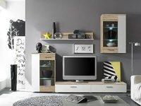Modern Furniture for Living Room Wall Sonoma Oak in White ...