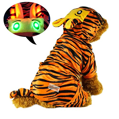 Pawow LED Light up The Tiger Dog Costume Puppy Pet Hoodie Jumpsuit Clothes Size, Large