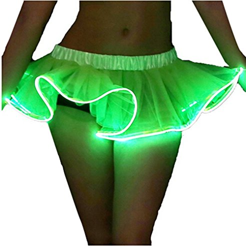 Women Organza Tutu LED Party Dance Skirt Light up Mini Tutu Petticoat