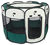 "Green Portable Pet Playpen Puppy Dog Folding Crate Pen - 36"" X 23"" Fold up Indoor Outdoor Dog Cat Play Pen - Zippered Top and Door Access with Stakes Included. Brand: Perfect Life Ideas -Tm®"