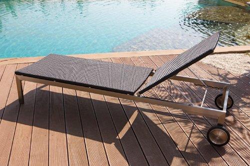 Designer Loungeliege, Svantje Outdoor Gartenliege aus hochwertigen Rehau Raucord Polyrattan, wind- und wetterfest, Edelstahlgestell mit Rollen, sehr stabil und belastbar, schwarz
