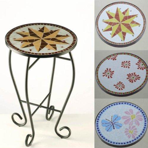 Mosaiktisch Rund Tisch Mosaik SCHMETTERLING Ø 35cm, H 57cm, Beistelltisch Blumentisch