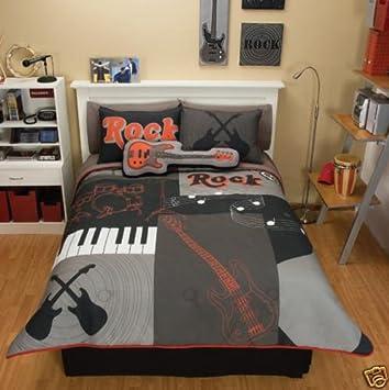 Grey Red Guitar Comforter Bedding Set Full/Queen