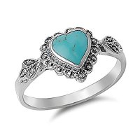 Sterling Silver Simulated Turquoise Vintage Style Heart