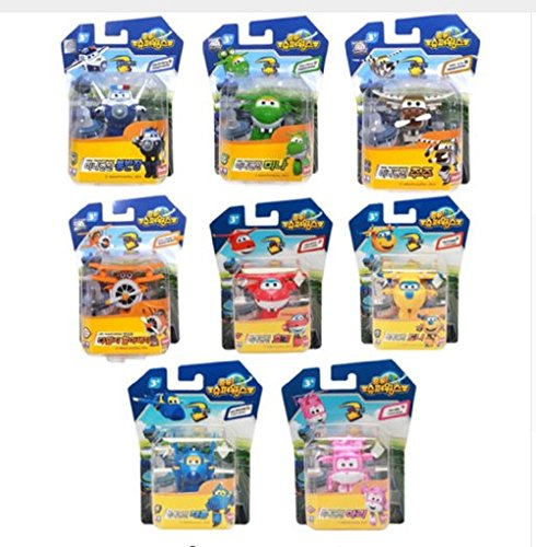 8PCS/Set Super Wings Mini Airplane ABS Robot toys Action Figures Super Wing Transformation Animation Children Kids Gift