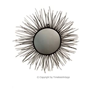 "20"" Iron Sun Burst Wall Art Mirror / Designer Home Decor"