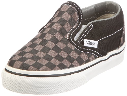 Vans K CLASSIC SLIP-ON Black/Pewter Ch VLYGBPJ, Unisex - Kinder Sneaker, Schwarz (Checkerboard) black/pewter), EU 35