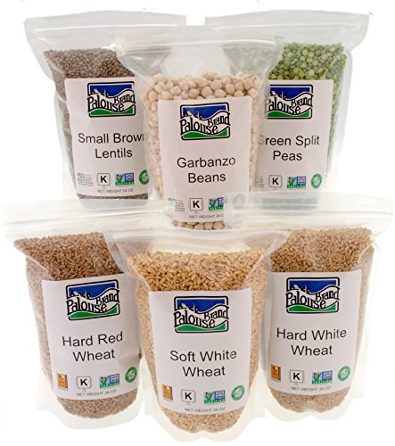 Non-GMO Project Verified| Sample Pack Includes 1.5 Lbs each: Garbanzo Beans, Hard White, Hard Red, and Soft White Wheat Berries, Lentils, and Green Split Peas (9 LBS Total) | 100% Non-Irradiated| Certified Kosher Parve | Field Traced