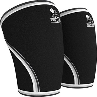 Knee Sleeves (1 Pair) Support & Compression for Weightlifting, Powerlifting & CrossFit - 7mm Neoprene Sleeve for the Best Squats - Both Women & Men - by Nordic Lifting® - Large, 1 Year Warranty