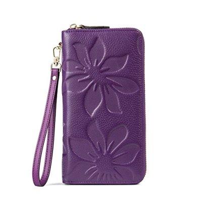BOSTANTEN-Womens-Leather-Wallets-Kapok-Pattern-Zipper-Handbags-with-Wristlet-Purple
